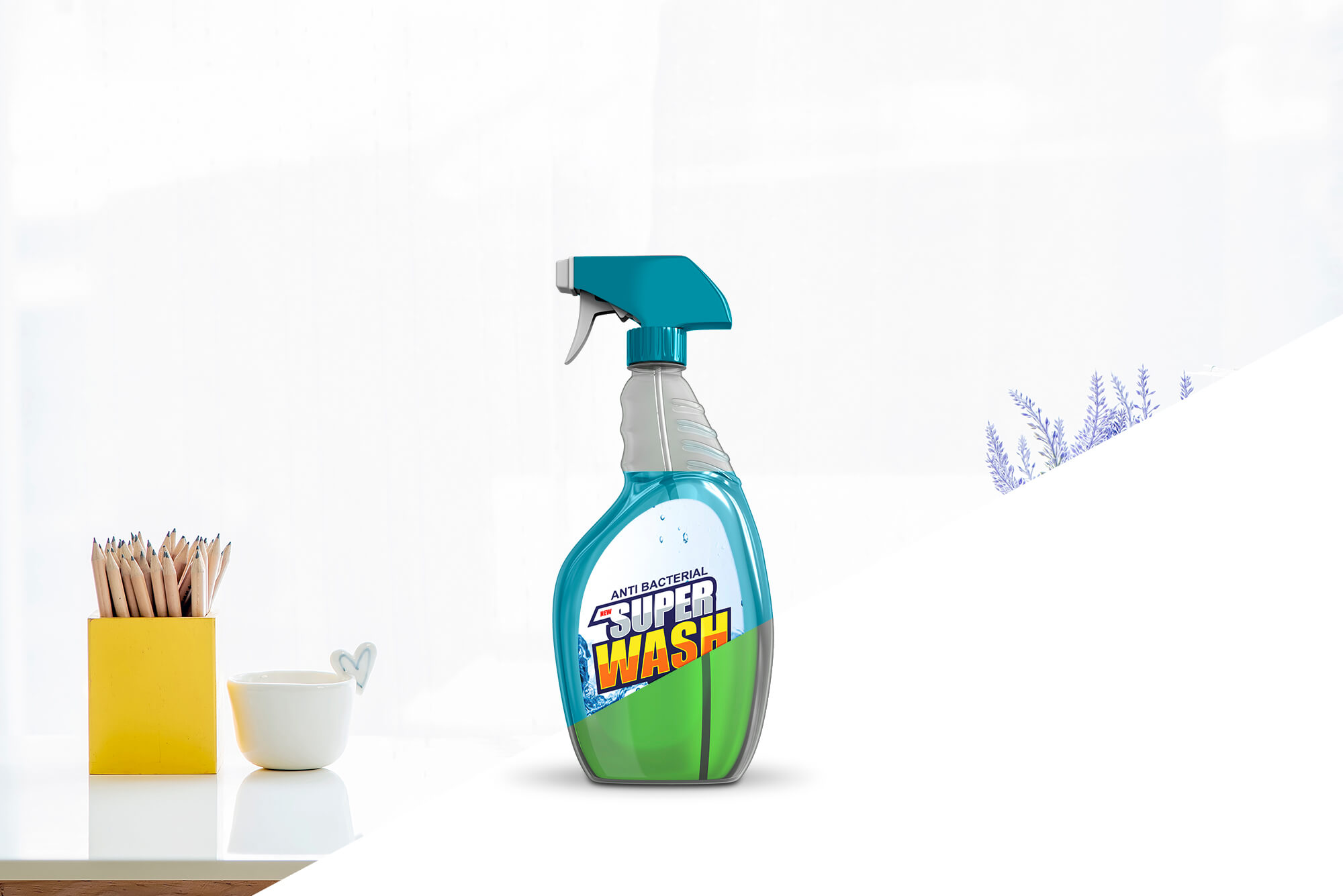 Free Plastic Trigger Spray Bottle Mockup PSD Template