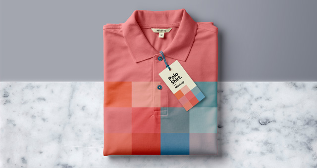 Polo T-shirt folded with tag design: