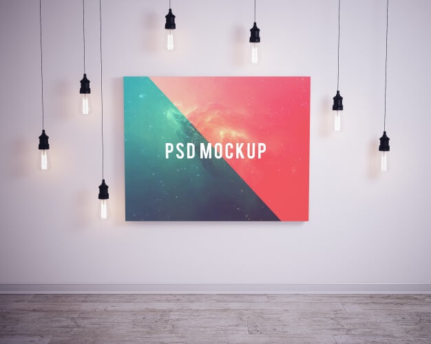Premium Template Of A Picture on wall with bubble lights PSD Format