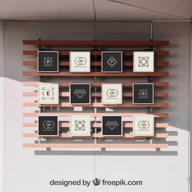 Realistic 12 Frames On Wall Mockup PSD
