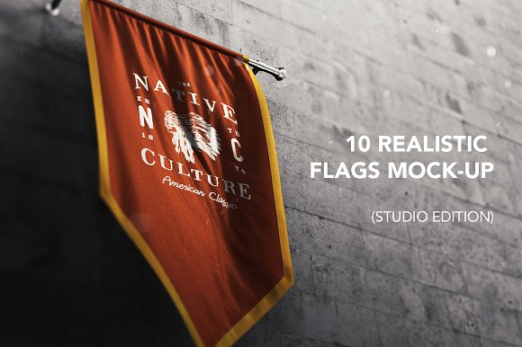 Realistic Native Flags Mock-Up