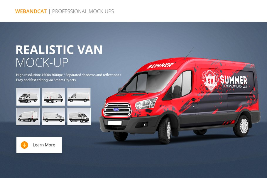 Realistic Red Colored Van PSD.