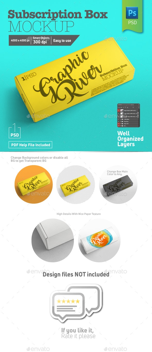 Rectangle Closed Subscription Box Mockup Half Side View