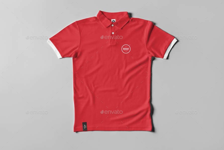 Red Polo T-shirt PSD Mockup: