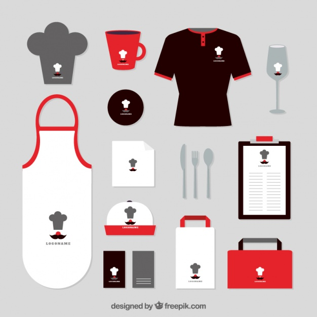 Red and Black Kitchen Set Apron Vector File