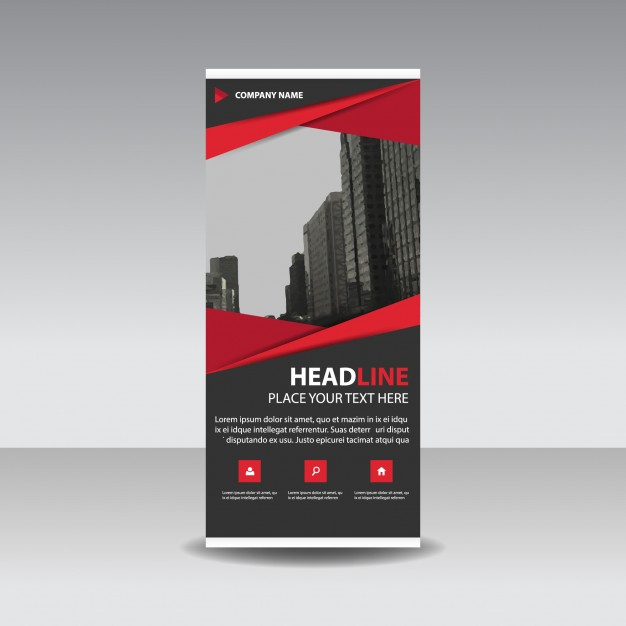 Red and Black Roll Up Banner Mockup PSD