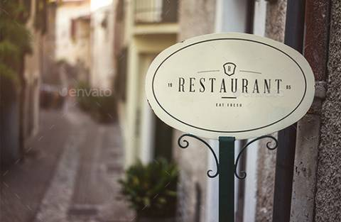 Restaurant Door Sign Board Mockup PSD