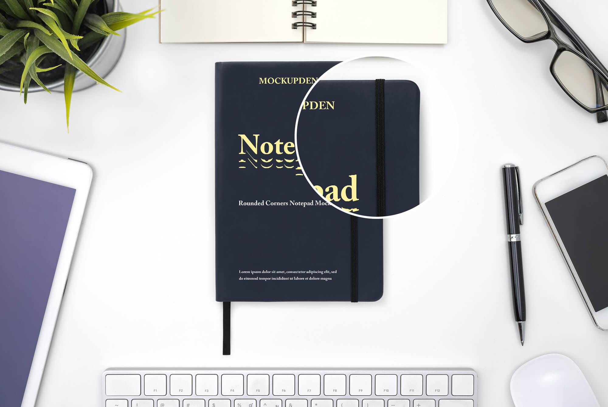 Free Rounded Corners Notepad Mockup PSD Template