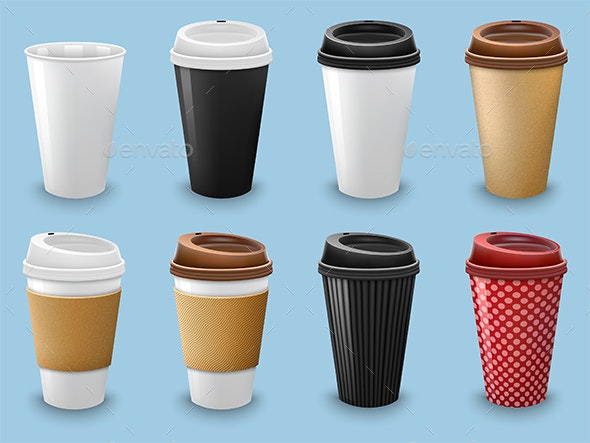 Set of Realistic Coffee Cups