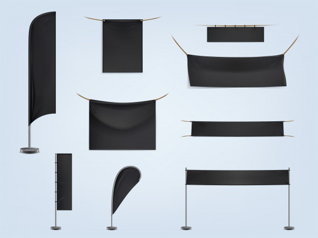 Set of black blank flags Mockup