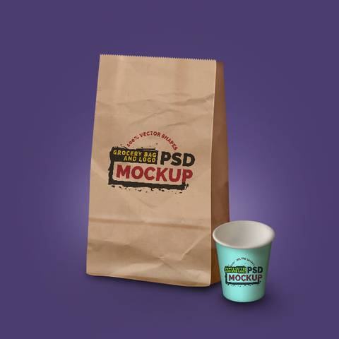 Simple Paper Bag beside Coffee Cup Mockup