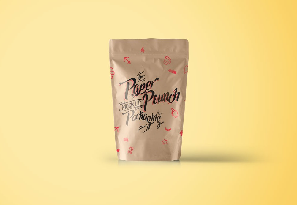 Simple Paper Pouch Mockup PSD