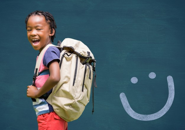 Small Kid in a gala mood carrying a backpack PSD Template