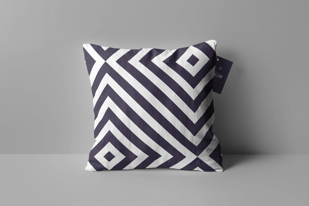 Square Black And White Print Pillow Mockup