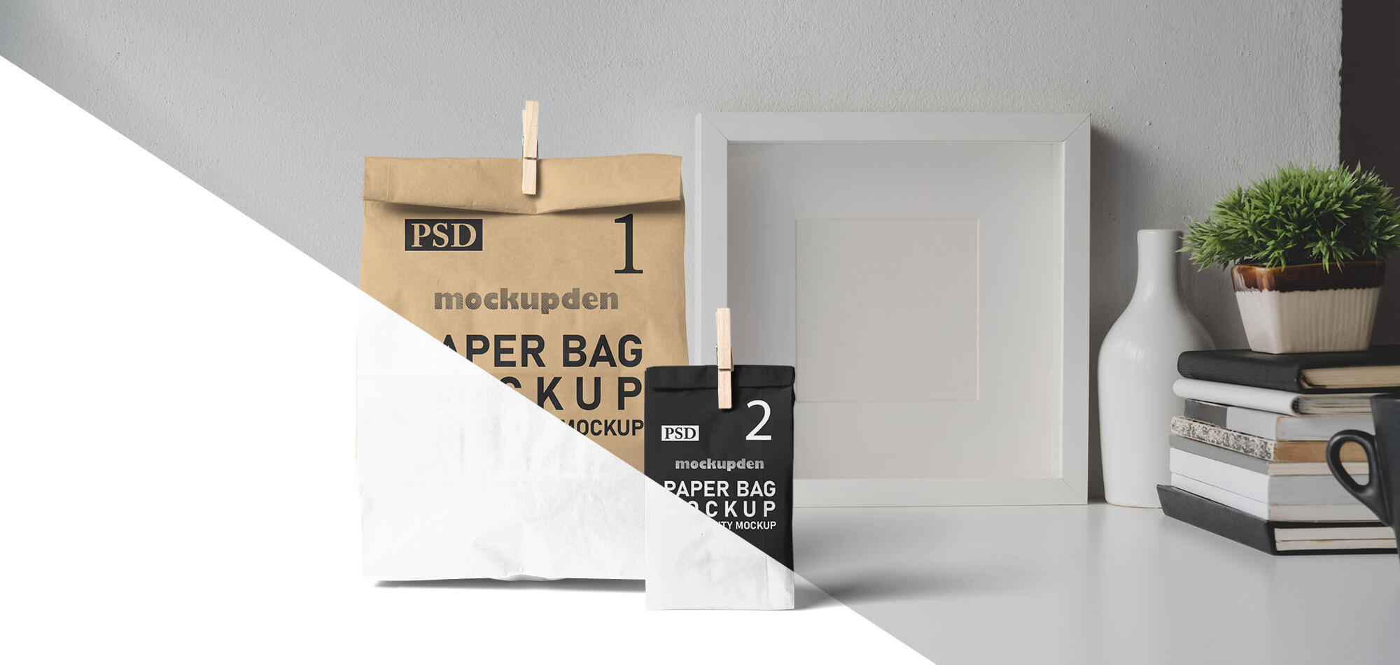 Free Stand up Paper Bag Mockup PSD Template