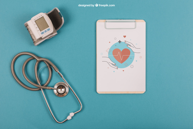 Stethoscope and Clipboard Mockup PSD