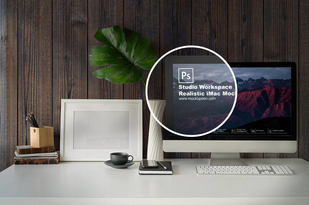 Closeup Studio Workspace Realistic iMac Mockup