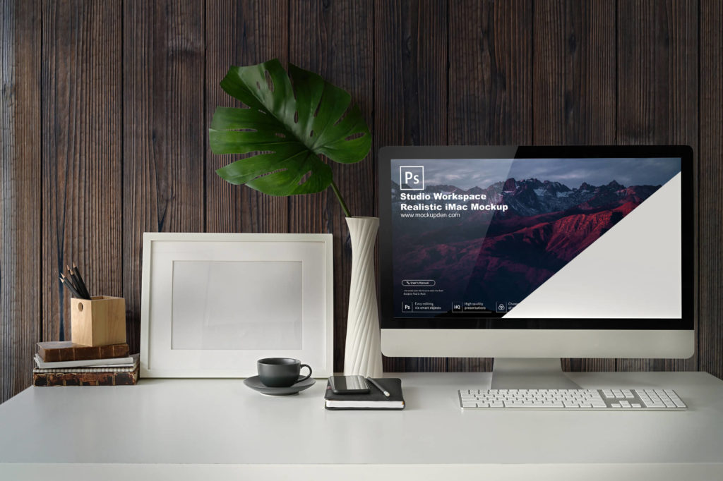 Editable Studio Workspace Realistic iMac Mockup