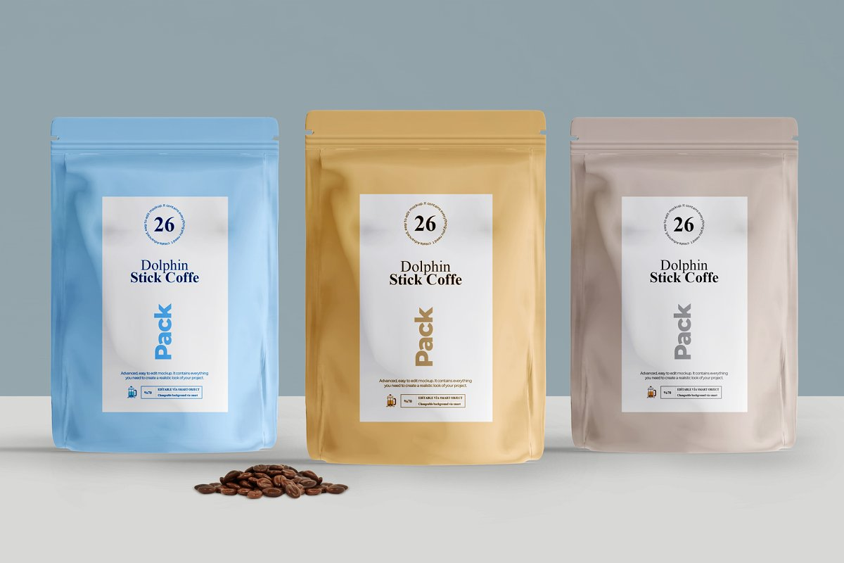 Three Different Light Color Coffee Packing Pouch Template (PSD)