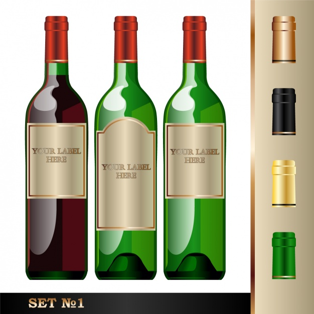 Three Wine bottle in a different color Vector Format