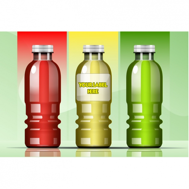 Three different colored glass bottle Vector Format