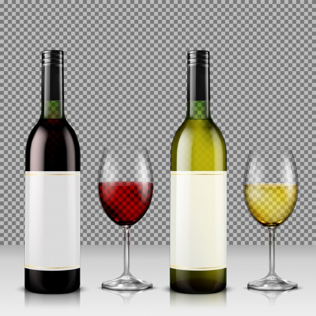 Two wine bottle made of glass Vector Format