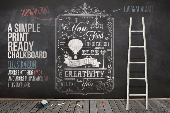 Typography Chalkboard PSD Customizable Format