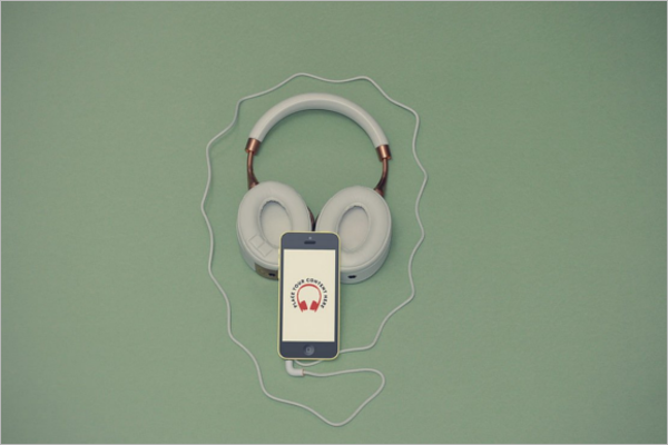 Ultra Realistic Headphone and Mobile Mockup PSD
