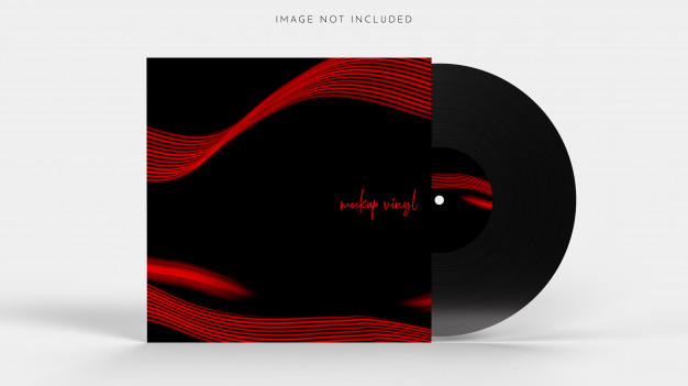 Vinyl lp record with a cover on white Premium Psd