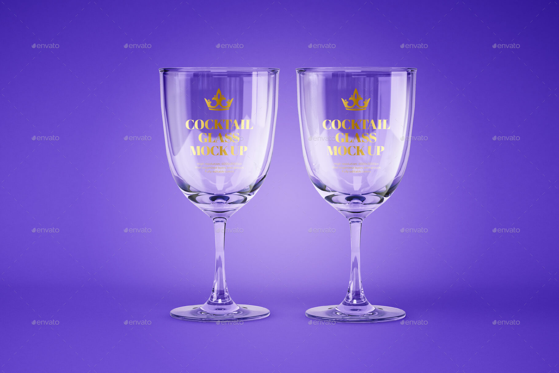 Water and Cocktail Glass Mockup Set