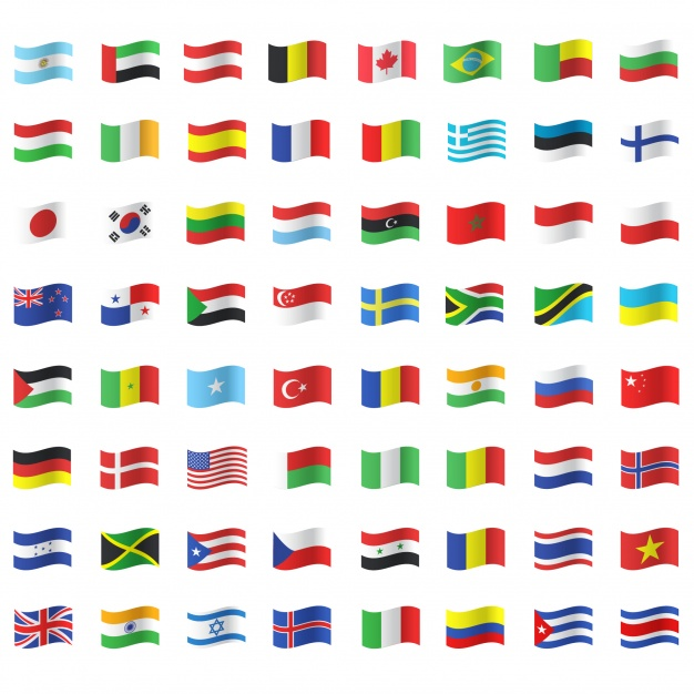 Waving Flag Icon Collection Vector