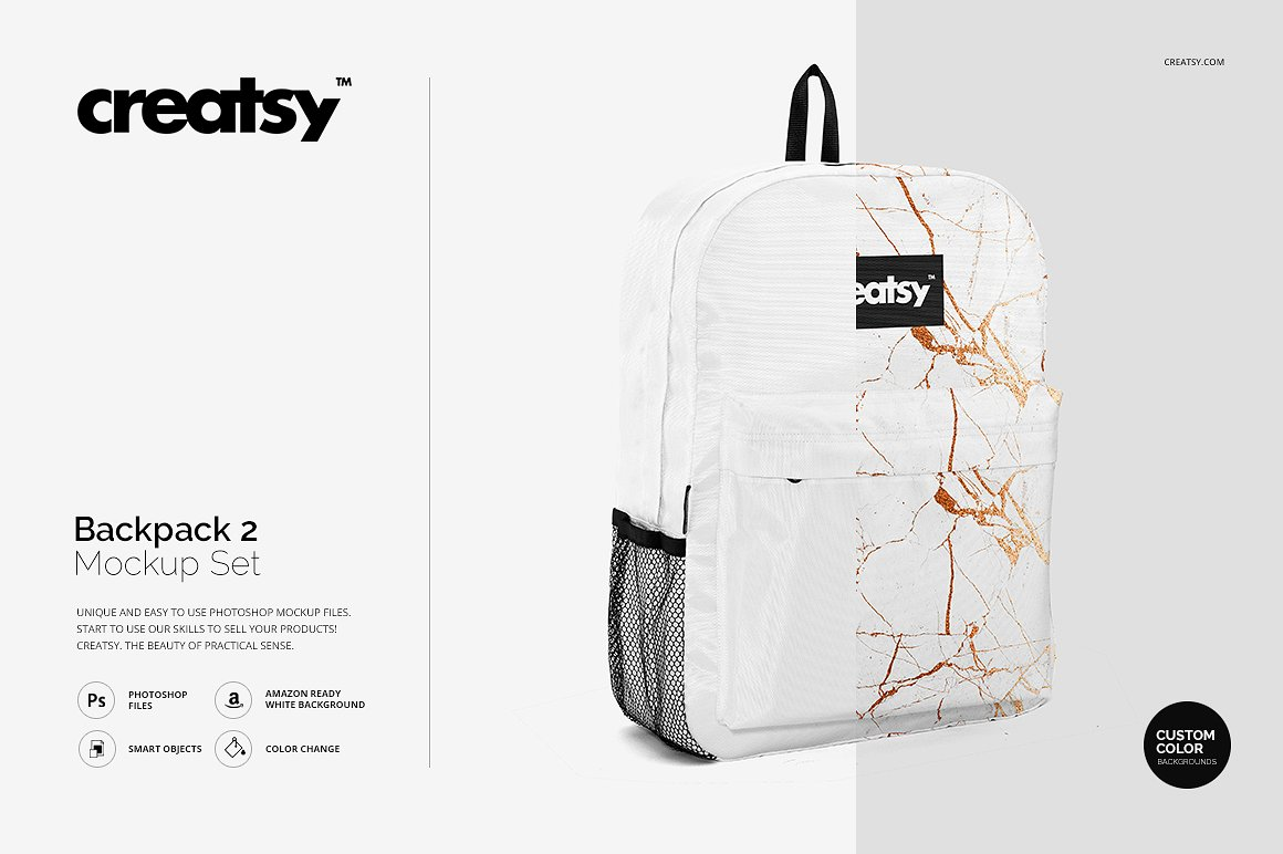 White Creatsy backpack mockup