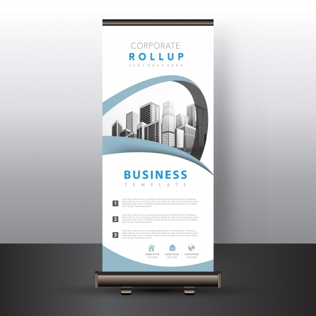 White Desigining Roll-Up PSD Mockup