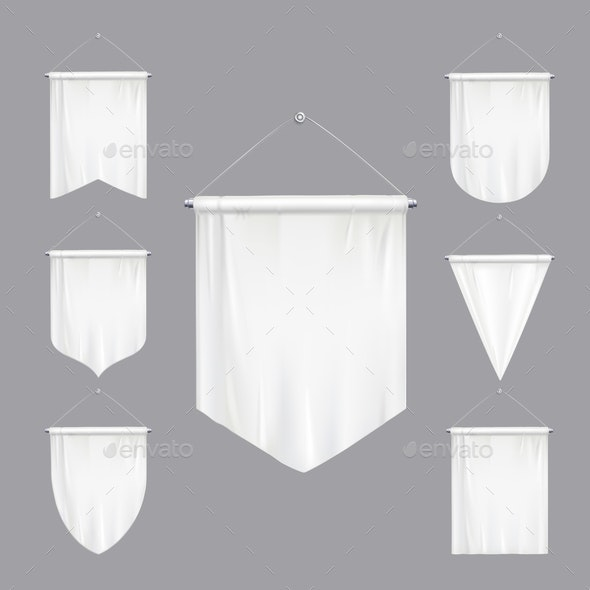White Pennants Realistic Set
