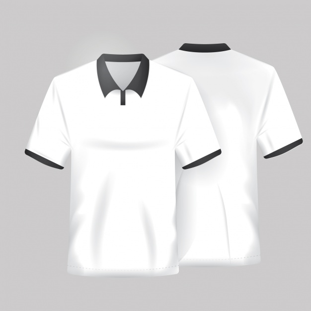 White and Black T-shirt Vector