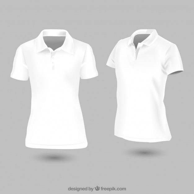 White woman polo t-shirt Vector: