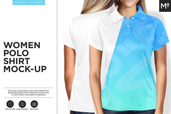 Women Polo Shirt PSD Design Template: