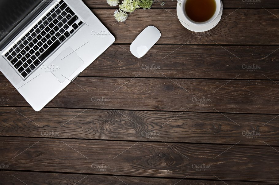 Wooden Flat Desk With Laptop and Coffee Cup Mockup