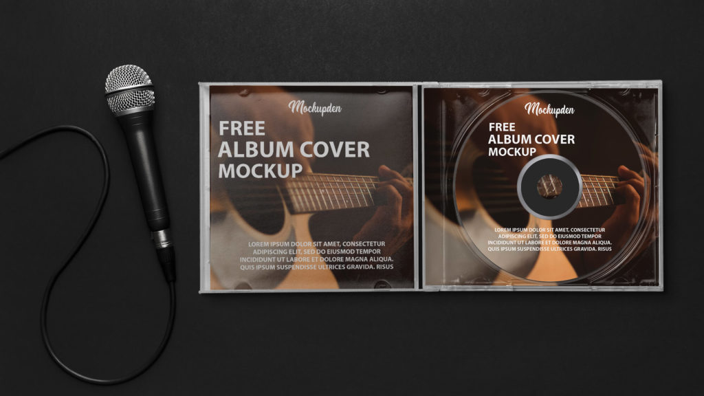 Free Album Cover Mockup PSD Template