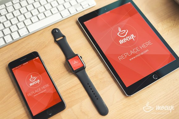 iPhone, Watch, iPad placed on a Desk Mockup: