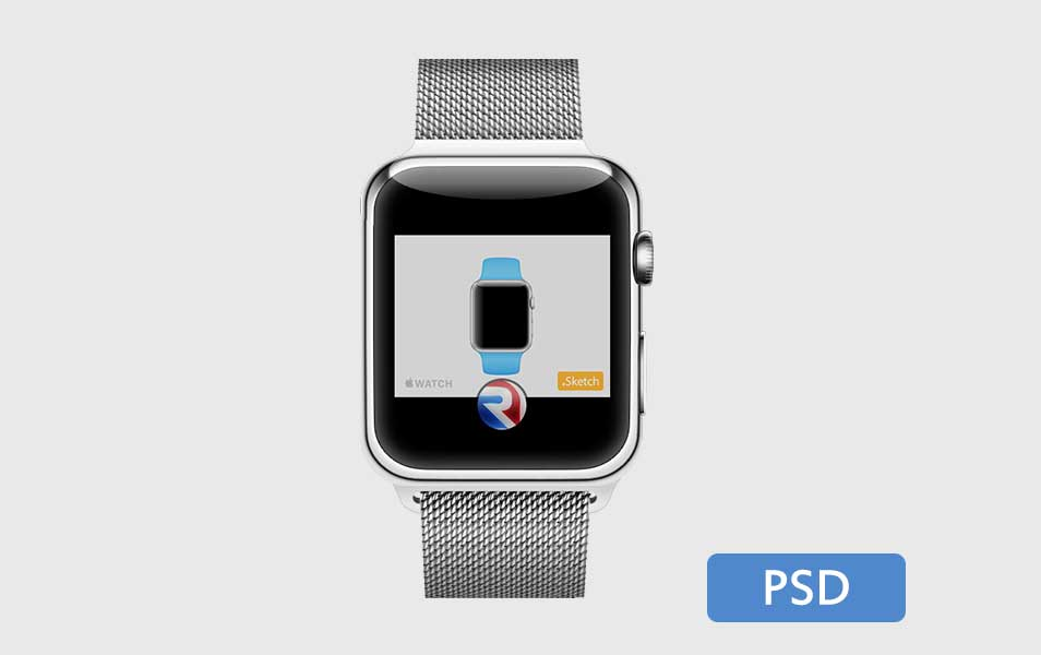 iWatch with Creative Belt Mockup PSD