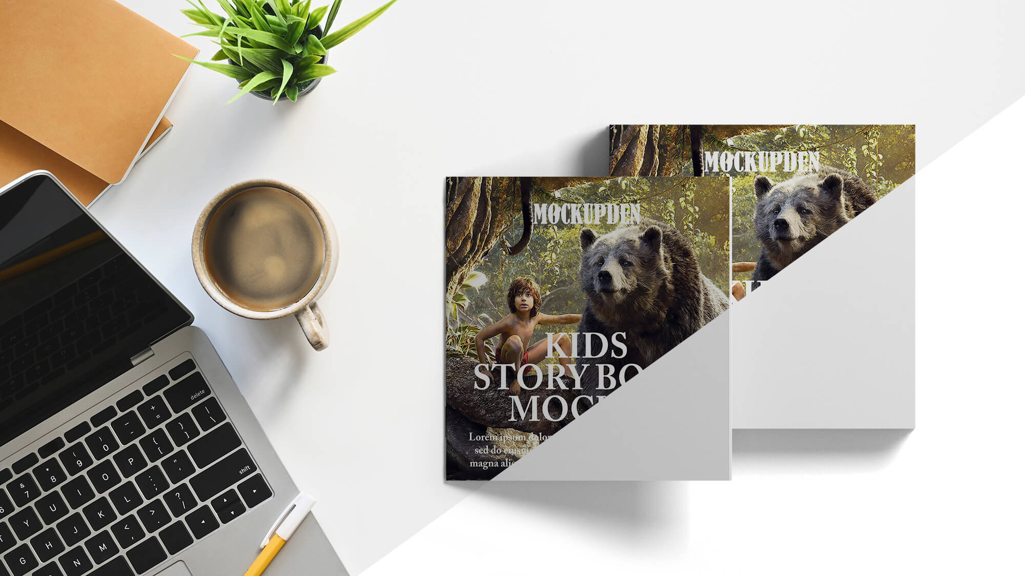 Free Kids Story Book Mockup PSD Template