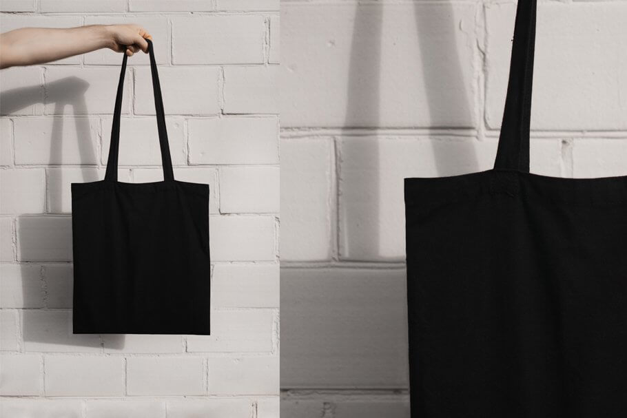 Black tote bag Mock-up
