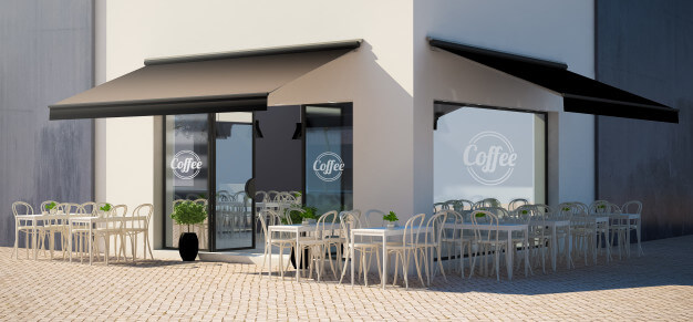 Cafe facade store with terrace view mockup Premium Photo (1)