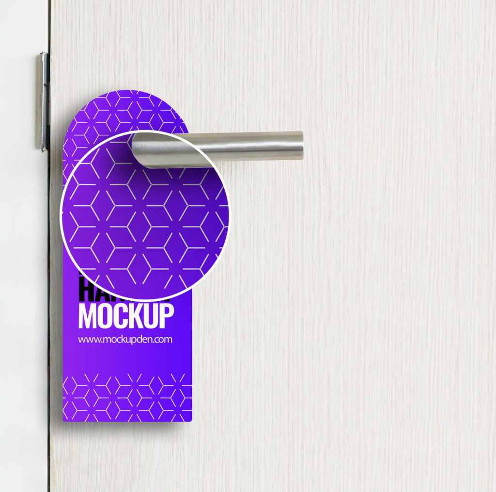 Close Uo Of a Door Hanger Mockup Free Mockup PSD Template