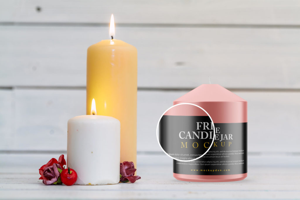 Close Up Of a Candle Jar Mockup Free PSD Template