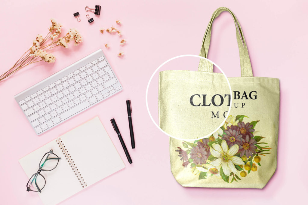 Close Up Of a Cloth bag mockup PSD Template