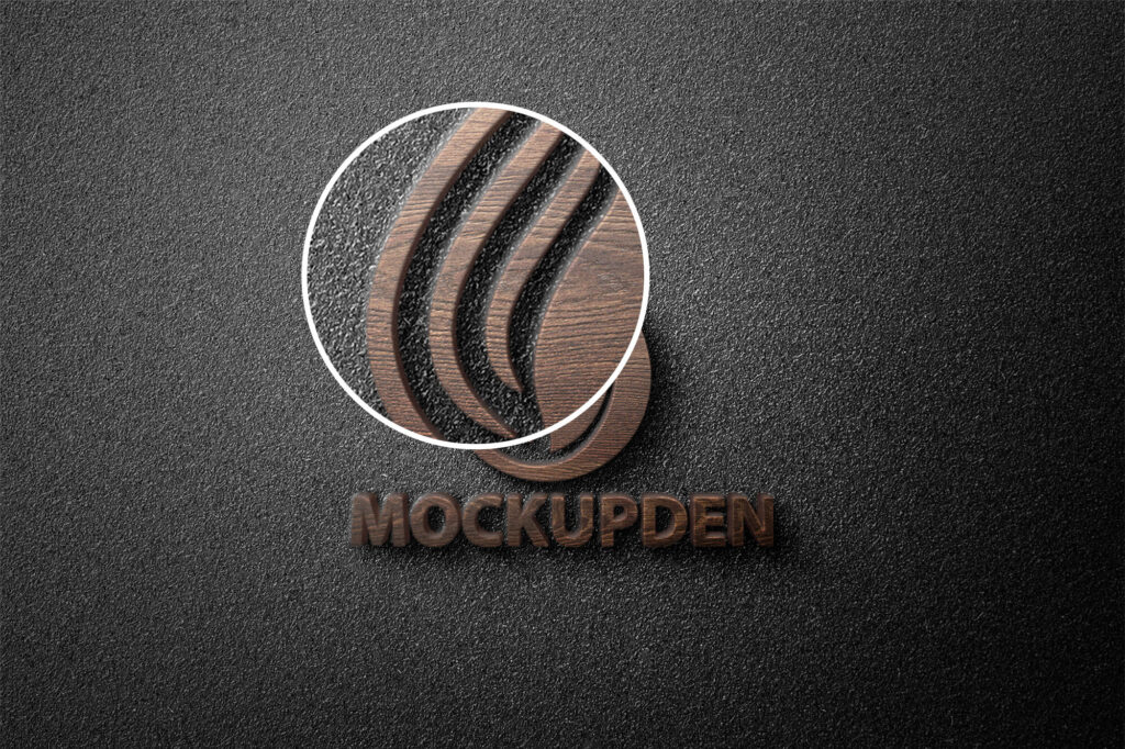 Close Up Of a Free 3D Wooden Logo Mockup PSD Template