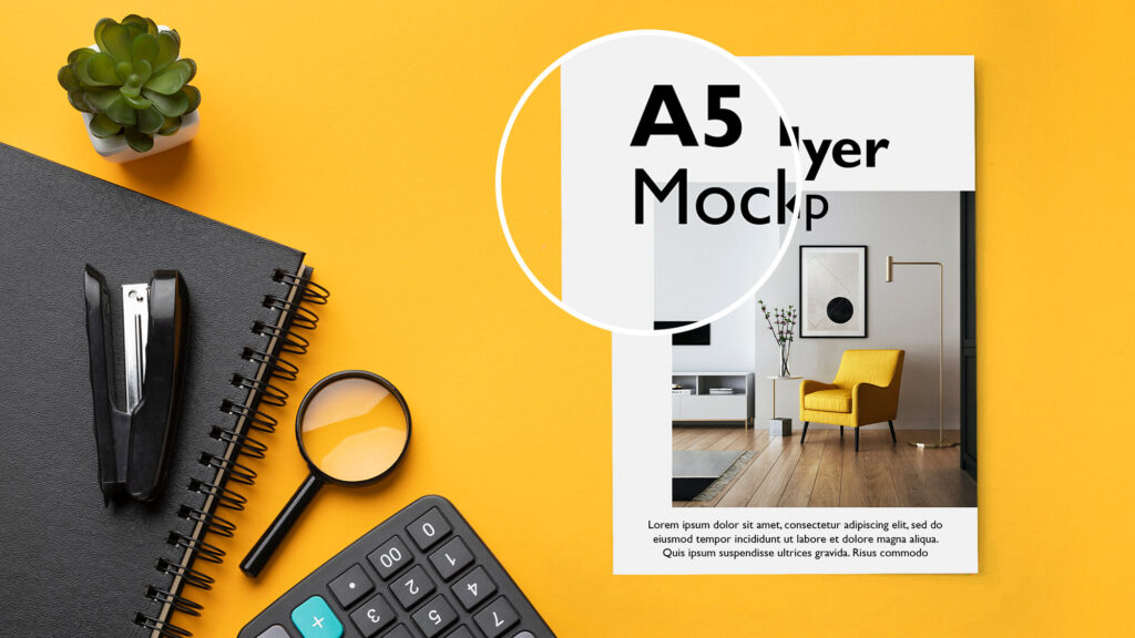 Close Up Of a Free A5 Flyer Mockup PSD Template