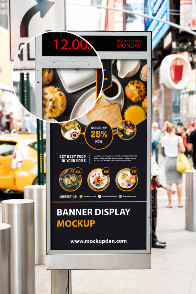 Close Up Of a Free Banner Display Mockup PSD Template